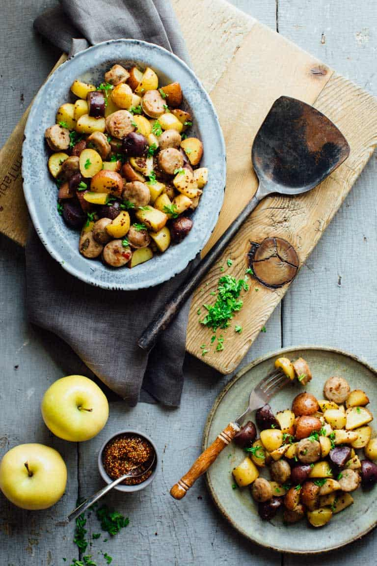 Roasted Potatoes With Apples Sausage And Maple Mustard Glaze Healthy Seasonal Recipes