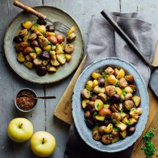 Check out this Roasted Potatoes with Apples, Sausage and Maple Mustard Glaze. With just 25 minutes of prep and only one pan you'll be able to put a delicious kid friendly dinner on the table without breaking a sweat. And it's dairy free and wheat free! | Healthy Seasonal Recipes | Katie Webster