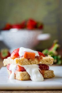 These Strawberry Rhubarb Shortcakes are a make-ahead healthier twist on the classic recipe. The perfect summer vegetarian dessert showcasing the magical combination of strawberries and rhubarb! | Healthy Seasonal Recipes | Katie Webster
