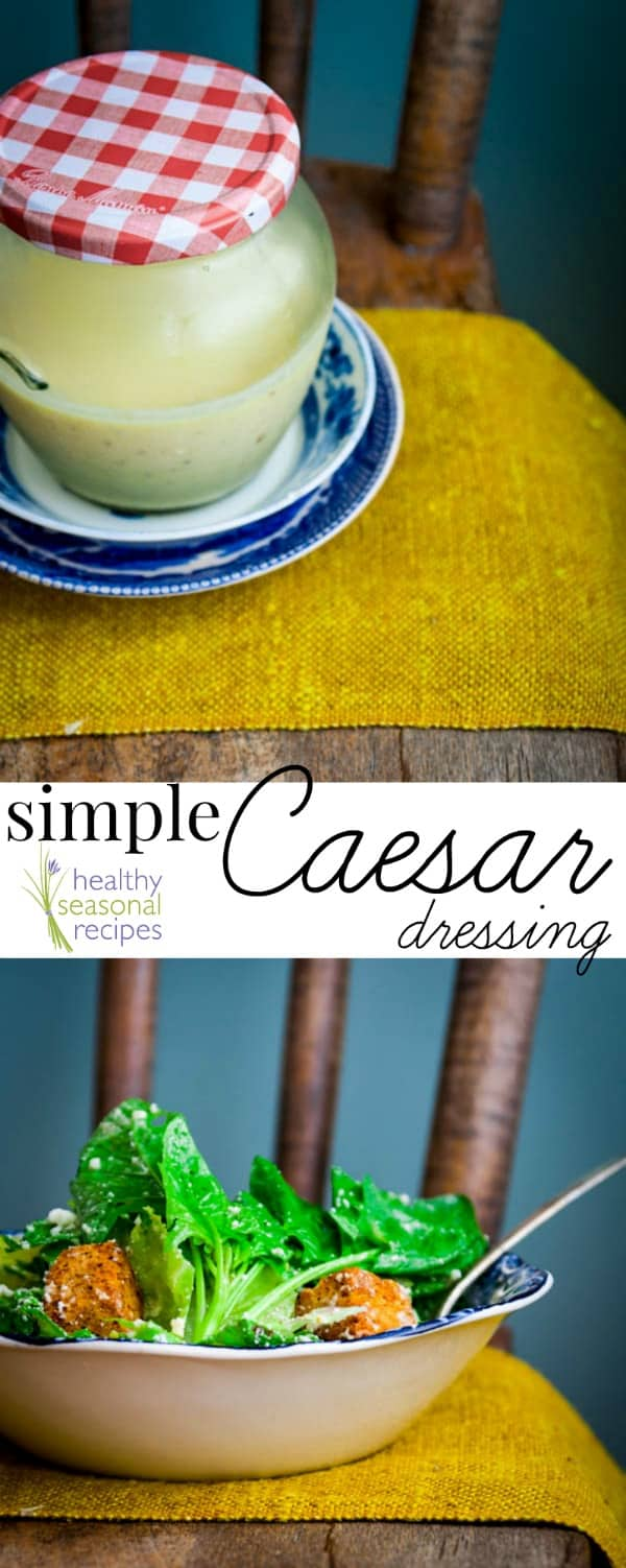 collage of caesar dressing and salad with text