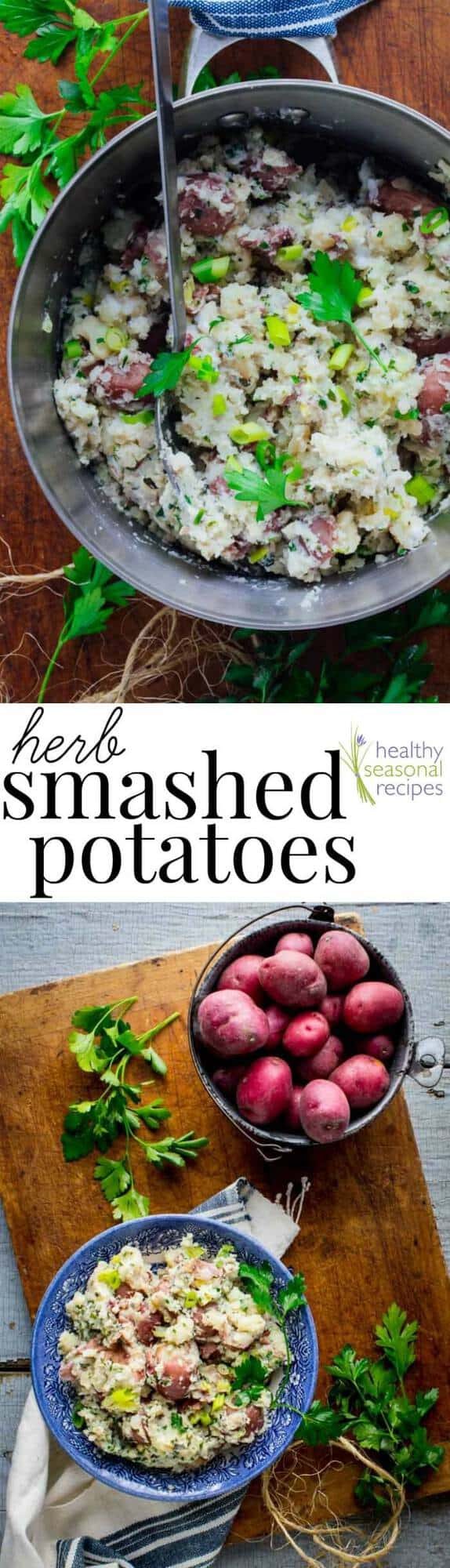 These Easy Smashed Red Potatoes are perfect for your Thanksgiving and Holiday Table. They are Vegetarian and Gluten Free, too! #Vegetarian #Glutenfree #Thanksgiving #potatorecipe #Holiday #Healthyrecipe