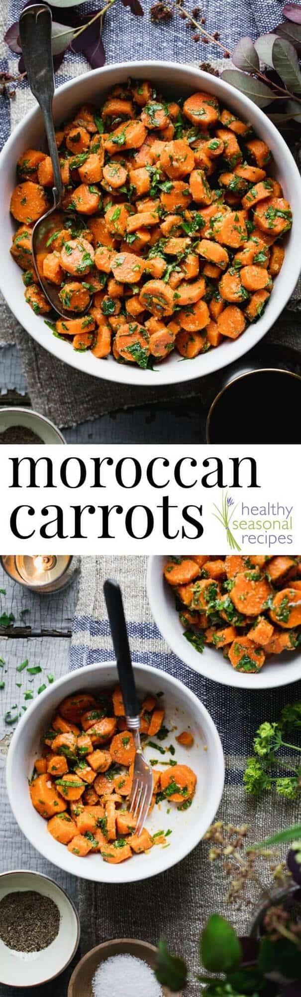 A bowl filled with different types of food, with Moroccan Carrots