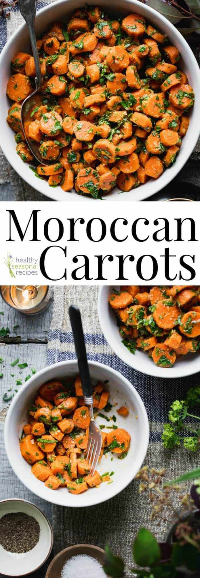 These Moroccan Carrots are a favorite healthy and flavorful side dish. They are loaded with garlic, vinegar and cumin! They are a great make-ahead side dish for summertime potlucks, barbecues and parties because you can serve them room temperature or chilled. #carrots #healthy #moroccan #paleo #glutenfree #vegan #cleaneating