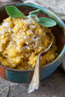 home made pumpkin puree and brown rice pumpkin risotto | Winter | Whole Grain | Entree | Healthy Seasonal Recipes