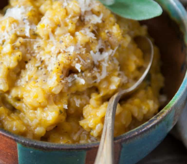 home made pumpkin puree and brown rice pumpkin risotto