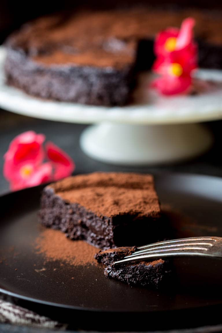 Flourless Chocolate Cake slice on a plate with a fork