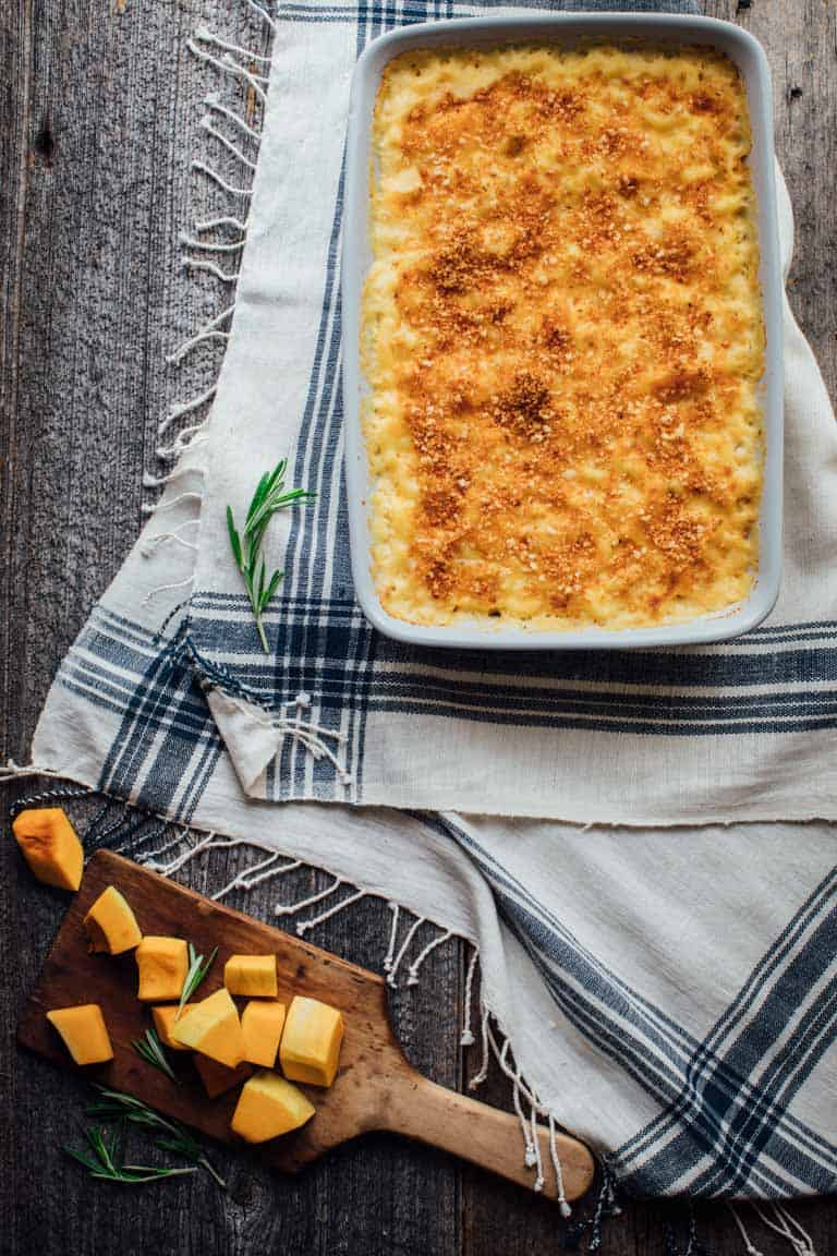 Healthy Butternut Squash Mac and Cheese in casserole dish