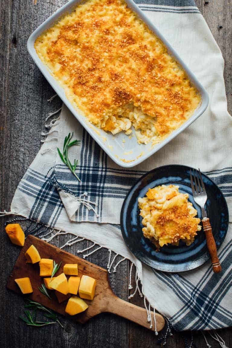 Healthy Butternut Squash Mac and Cheese on a plate