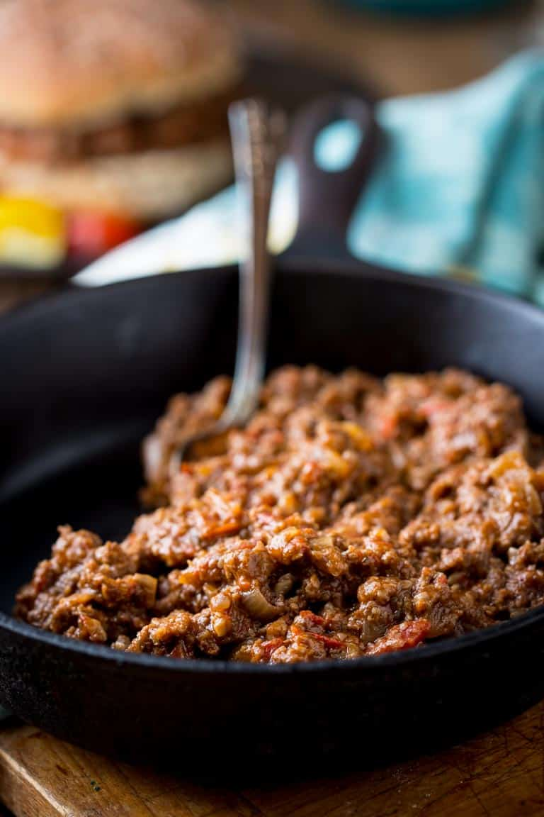 a skillet of sloppy joe meat