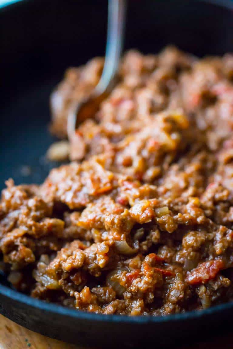 close up of sloppy joe meat