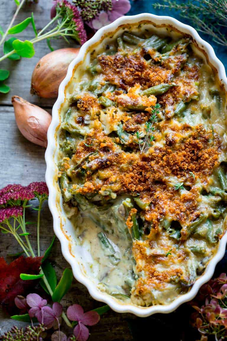 Put down that can and make this absolutely delicious and easy from-scratch Cheddar Green Bean Casserole. It's the perfect vegetarian make-ahead dish. | Healthy Seasonal Recipes | Katie Webster