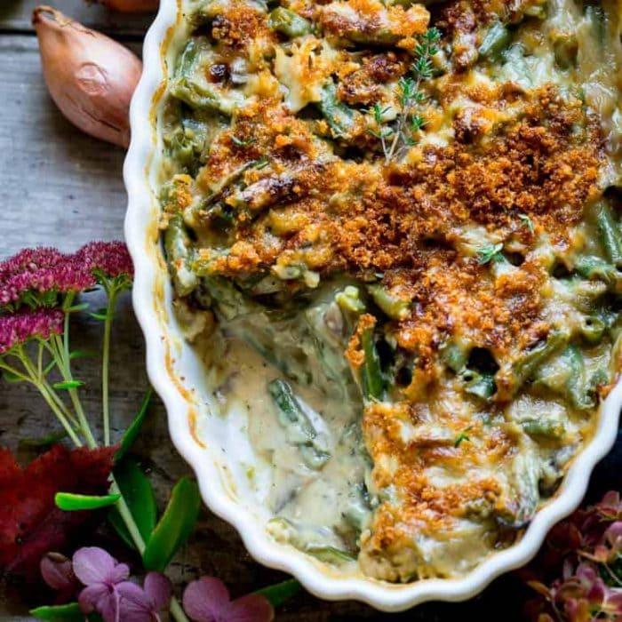 close up of green bean casserole