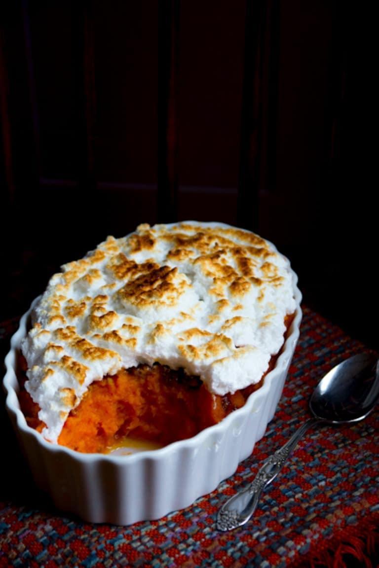 sweet potato casserole with maple pecans and italian meringue