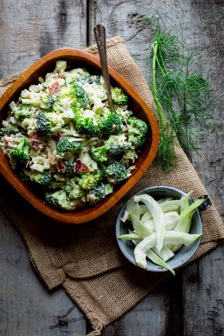 healthier broccoli cheddar salad with bacon