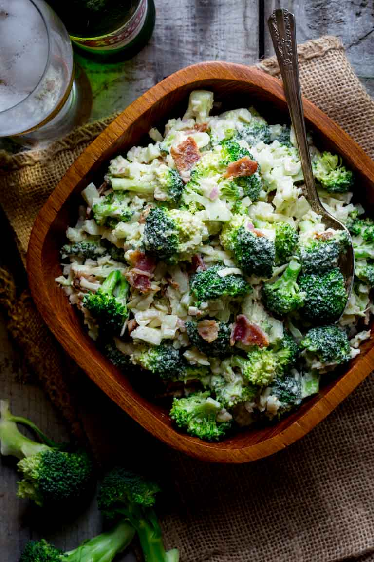 My Healthier Broccoli Cheddar Salad with Bacon is inspired by my Grandmother and her love of Vermont Cheddar. It's a breeze to make and comes together in just 25 minutes, so it's the perfect creamy dreamy gluten free Summer side dish! | Healthy Seasonal Recipes | Katie Webster