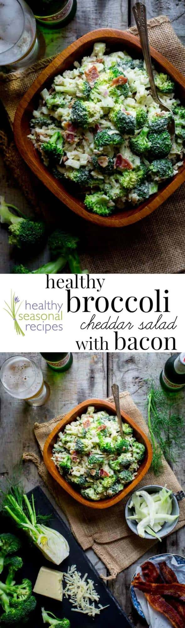 You will probably want to make a double batch because everyone will want seconds of this Broccoli Salad Recipe! It's a healthier version of the classic version my grandmother made with Bacon, Cheddar and creamy dressing, but it is still absolutely delicious! #healthyseasonal #cleaneating #lowcarb #healthy #broccoli #broccolisalad #picnic #potluck #covereddish #barbecue #fourthofjuly