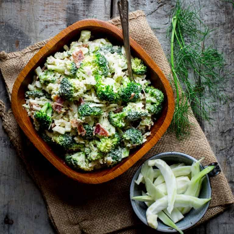 healthier broccoli salad with cheddar and bacon