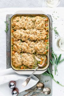 chicken and biscuits casserole from overhead