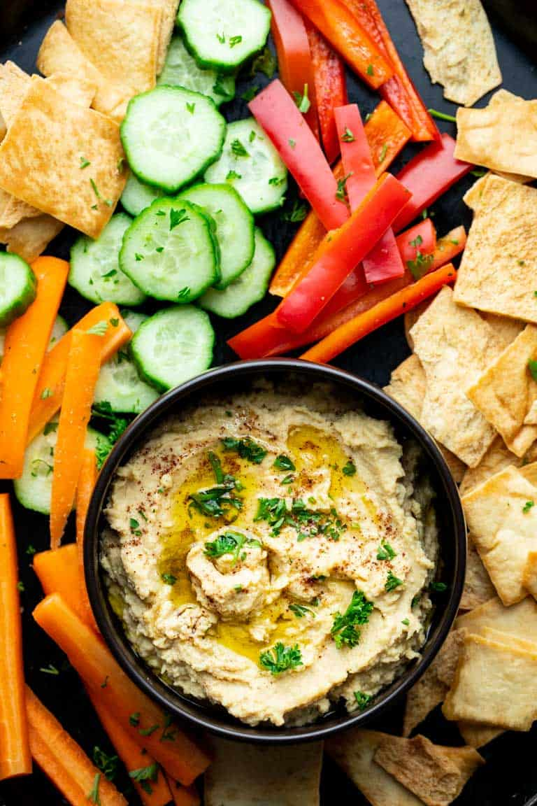 Roasted Garlic Hummus with veggies and pita chips
