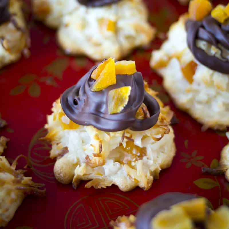 apricot-studded macaroons with chocolate on top