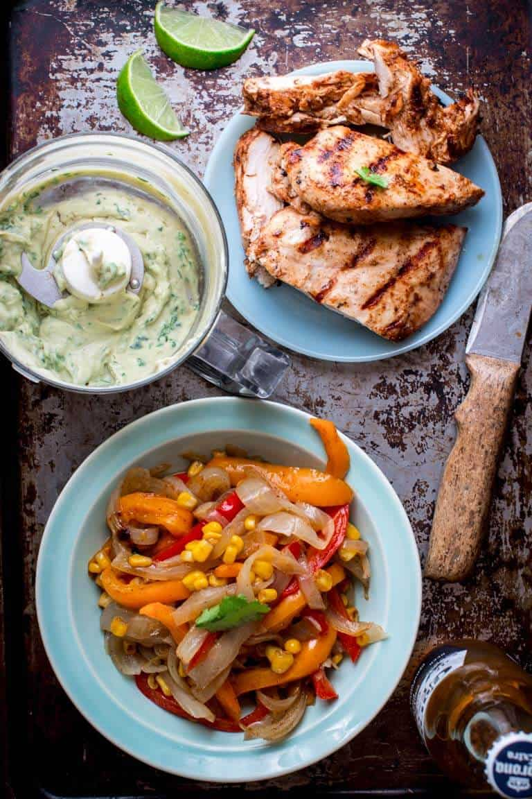 This Grilled Chicken Fajita Salad for Salad Month is Low-Carb and Gluten-Free and will be the star of any Cinco De Mayo celebration! | Healthy Seasonal Recipes | Katie Webster