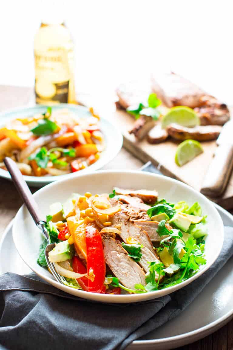 Grilled Chicken Fajita Salad in a bowl