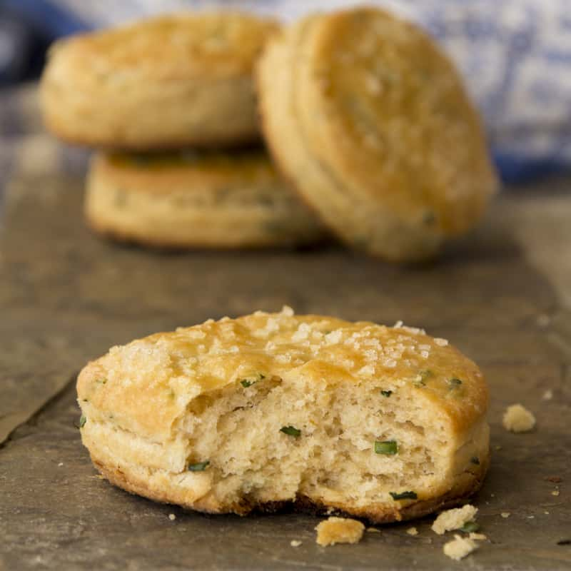flaky whole-wheat chive biscuits