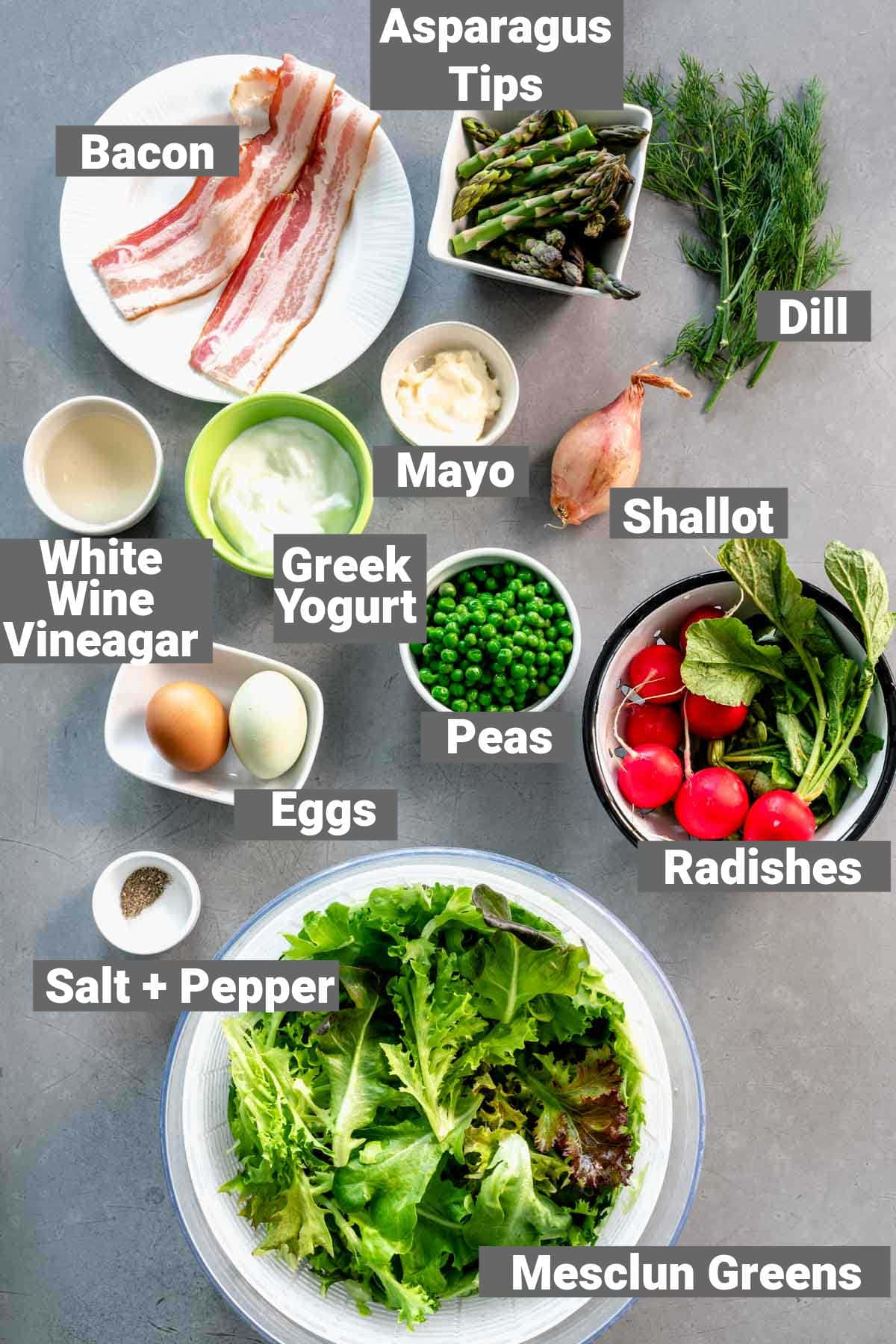 ingredients with labels for spring salad