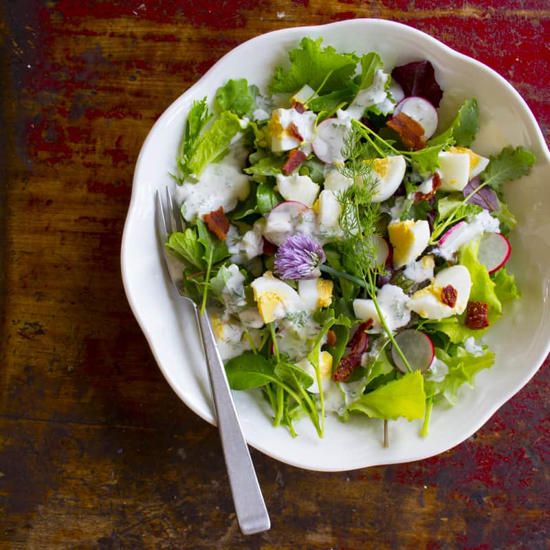spring salad with radishes and yogurt dill dressing