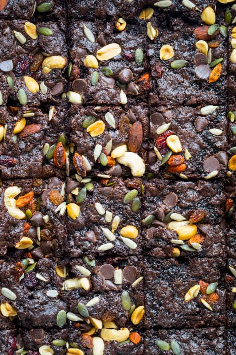 These Fudgy Greek Yogurt Trail Mix Brownies are the perfect treat to take to your next picnic or barbecue. Healthy Seasonal Recipes #brownie #dessert #chocolate #kidfriendly #greekyogurt