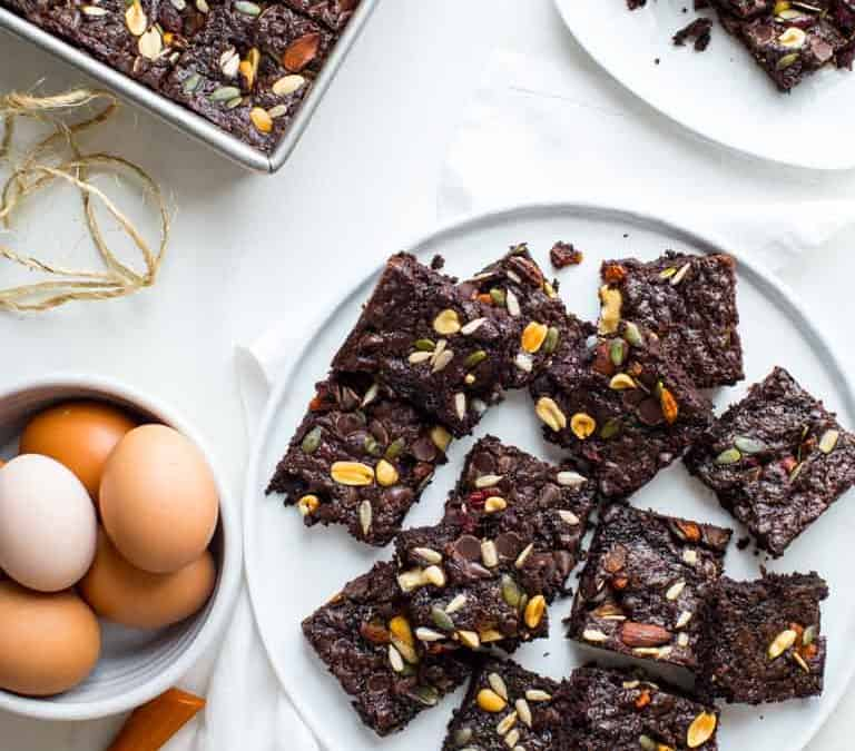 fudgy greek yogurt trail mix brownies