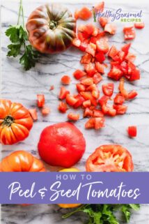 diced tomatoes and fresh tomatoes on a cutting board