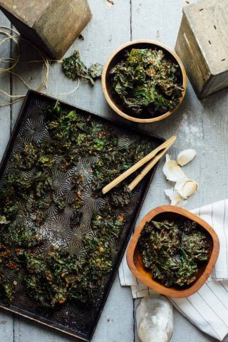 Garlic Almond Kale Chips are a gluten-free and vegan Super Snack that are ready in just 30 minutes and will literally knock your socks off!   Healthy Seasonal Recipes   Katie Webster