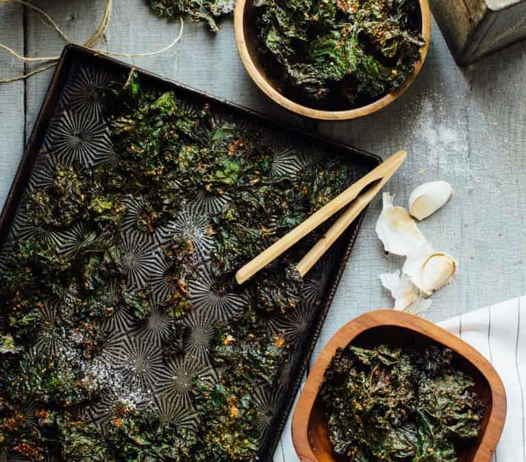 garlic almond kale chips