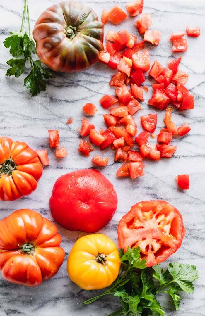tomatoes on a marble board
