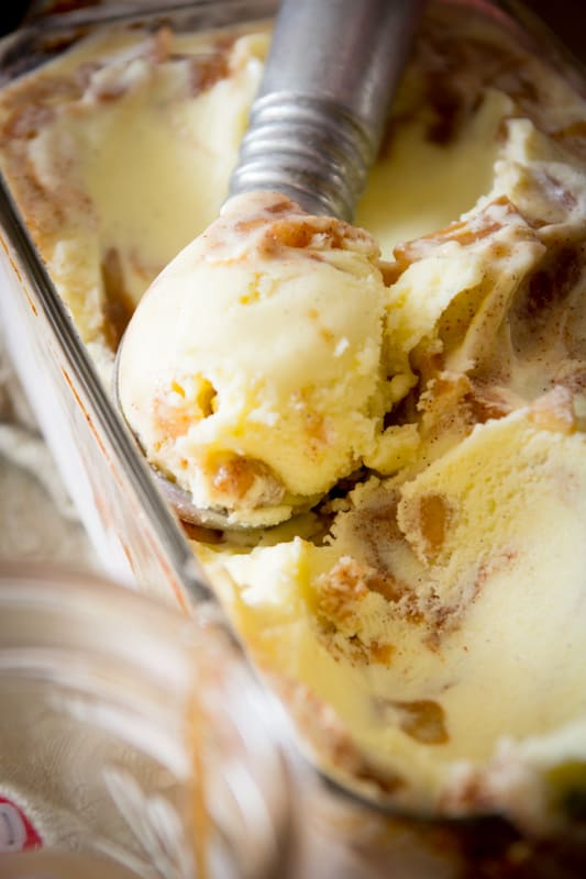 apple pie ice cream with salted honey caramel sauce ...