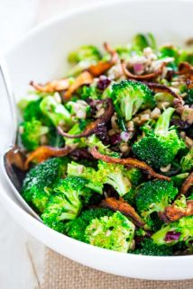 Broccoli Salad with sweet miso dressing (vegan)
