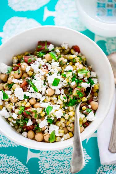 grilled corn and chickpea salad- gluten free, vegetarian | Healthy Seasonal Recipes
