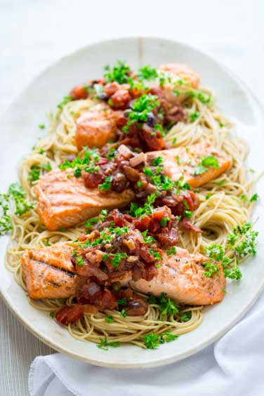 grilled salmon puttanesca