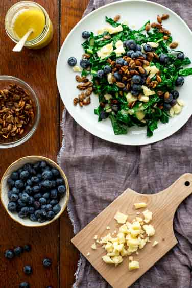 Kale Salad with Blueberries, Manchego and Pumpkin Seed Clusters | Healthy Seasonal Recipes