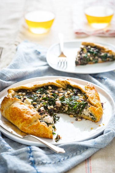kale and beet green galette with feta