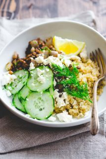 Lemony Quinoa and Lentil Bowls