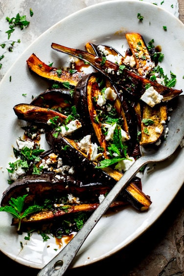Roasted Eggplant with Pomegranate Molasses, Feta and mint | Healthy Seasonal Recipes