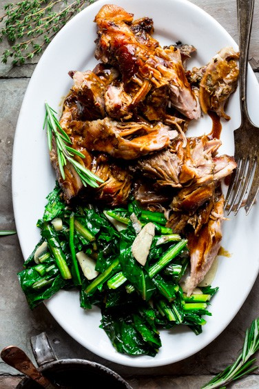slow roasted pork shoulder with lemon and rosemary