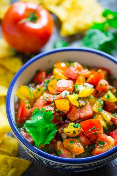 Yellow and Red Tomato Pico De Gallo on Healthy Seasonal Recipes