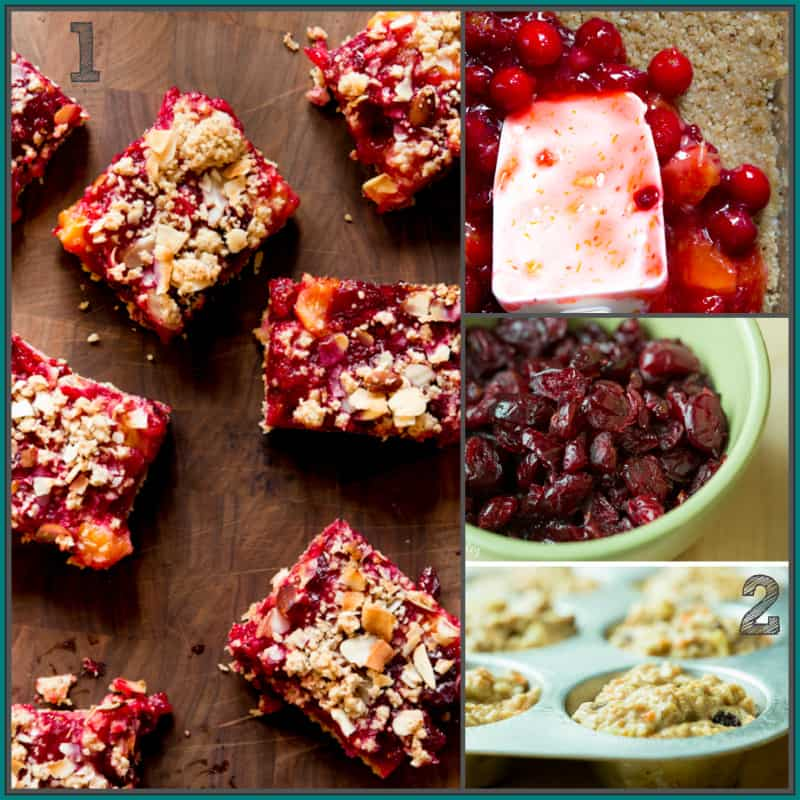 cranberry coconut clementine bars and healthy morning glory muffins