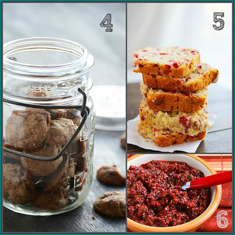 cranberry flax cookies, cranberry orange bread and low-sugar cranberry relish