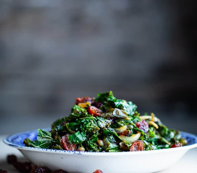 balsamic kale with cranberries