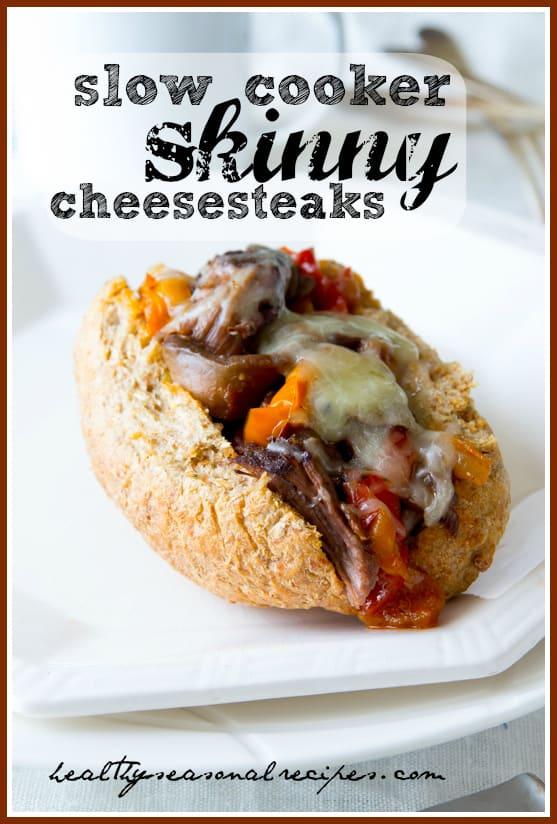 slow cooker skinny cheesesteaks