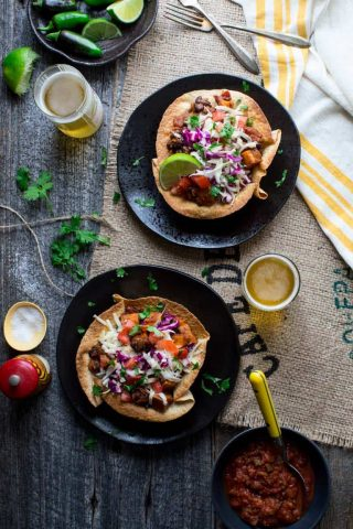 These Sweet potato and Black Bean Chili Burrito Bowls give you all the nutrition and yumminess from the veggie packed high fiber filling without needing a huge tortilla to wrap it all up.  It is vegetarian comfort food at it's best! | Healthy Seasonal Recipes | Katie Webster